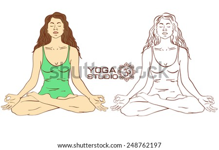Isolated silhouette of young woman sitting on lotus yoga pose. Color and sketch version - stock vector