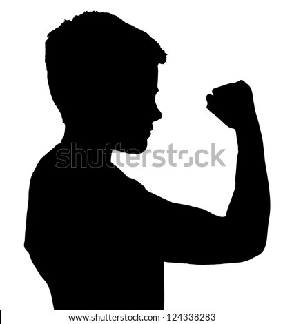 Isolated Silhouetted Boy Child Gesture and Activity Showing Fist - stock vector