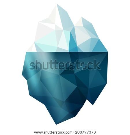 Isolated snow iceberg mountain shape vector illustration, winter sign - stock vector