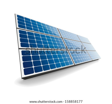 Isolated solar panel - stock vector