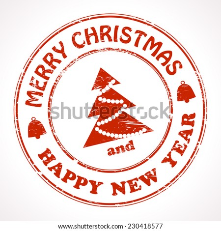 Isolated stamp Christmas and New Year greeting - stock vector