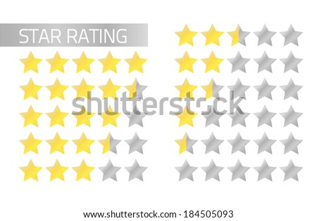 Isolated star rating in flat style 5 to 0 stars (full and half stars) - stock vector