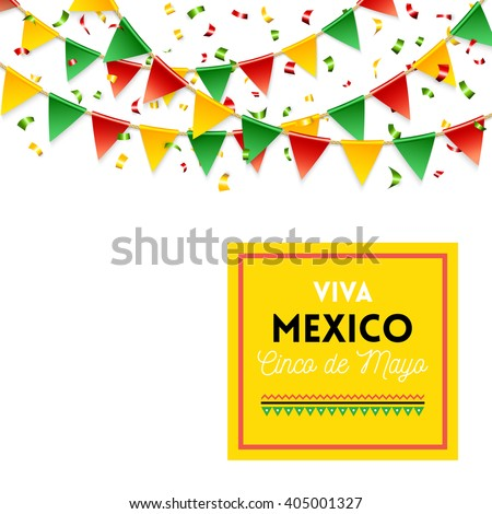 Isolated strings of colorful flags and banner for Cinco de Mayo celebration over white background - stock vector