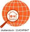 isolated symbol electric in house with planet and magnifier - stock vector