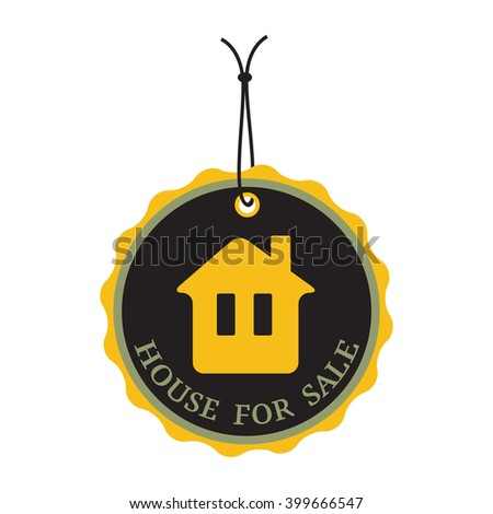 Isolated tag with the text house for sale written on the tag - stock vector