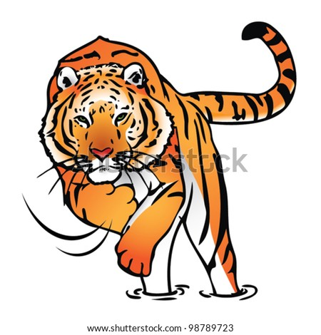 Isolated tiger in jump - vector illustration - stock vector