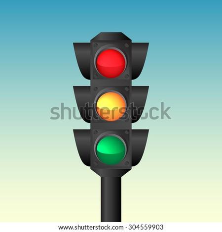 Isolated traffic light vector - stock vector