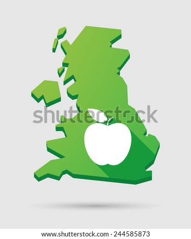 Isolated United Kingdom map icon with a fruit - stock vector