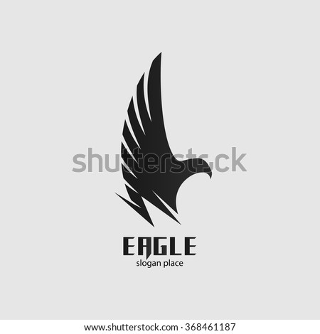 Isolated vector black eagle logo. Graphic bird icon. Side-view flying bird illustration. Spread wings label. Freedom symbol. Pride sign. - stock vector