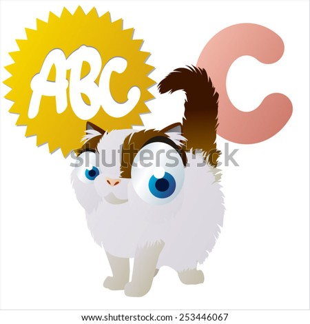 isolated vector cartoon cute comic animal abc: C is for Cat - stock vector
