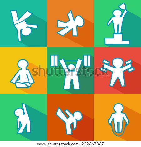 isolated vector flat icon set of fitness - sports logos - stock vector