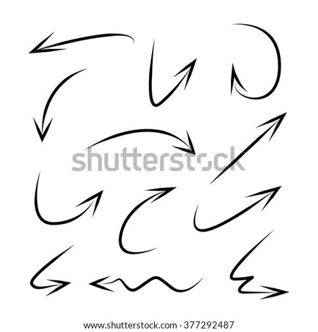 isolated vector hand drawn arrows - stock vector