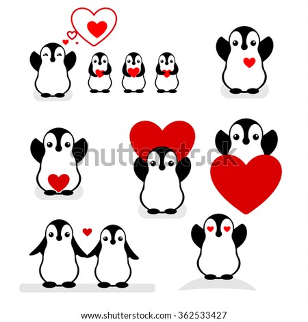 Isolated vector penguin logo. Designed animals icon. Cartoon illustration. Winter signs. Black, white and red. Graphic set for St.Valentines Day.Flat heart symbol.Love greeting card. Amour collection. - stock vector