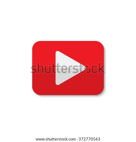Isolated vector play sign.Red and white digital element. Designed media button. Audio video player digital symbol. Rectangular app logo. - stock vector