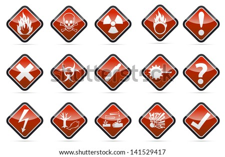 Isolated vector red Danger sign collection with black border, reflection and shadow on white background - stock vector