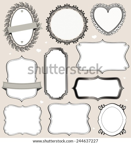 Isolated vector vintage frames collection. - stock vector