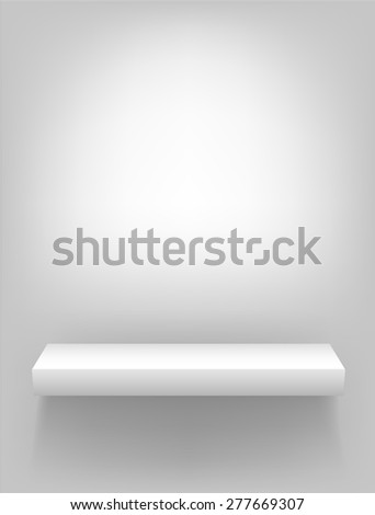Isolated vector white shelf for presentations and demonstrations of products and goods on a light background - stock vector