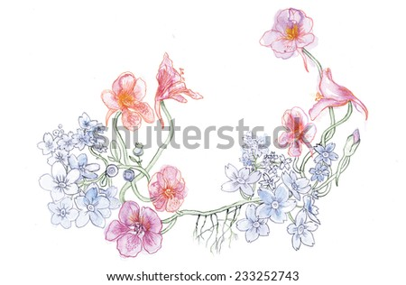 Isolated vintage floral set - stock vector