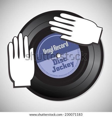 Isolated vinyl record with the text disc jockey written on the record and two hands playing on the record. Disc jockey concept - stock vector