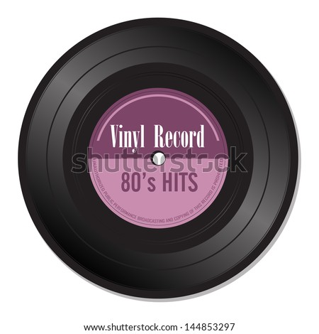 Isolated vinyl record with the text eighties hits written with purple letters - stock vector