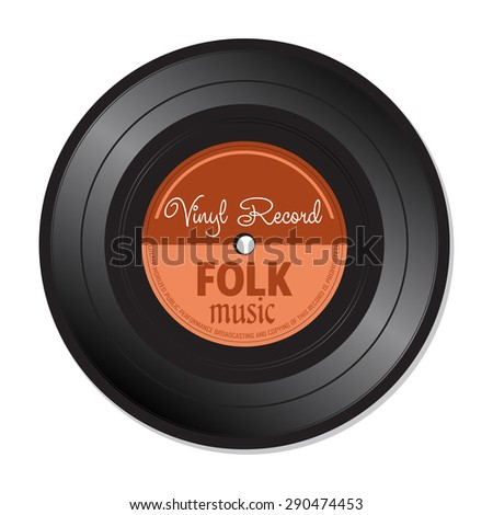 Isolated vinyl record with the text folk music written on the record - stock vector
