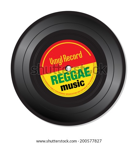 Isolated vinyl record with the text reggae music written on the record - stock vector