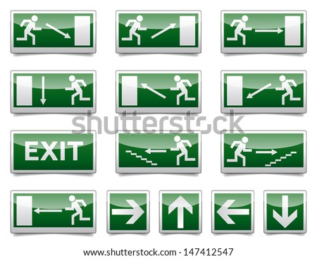 Isolated warning, exit, emergency sign collection with reflection and shadow on white background. - stock vector