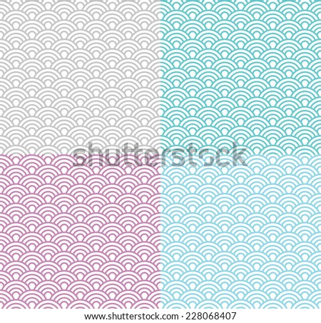 Isolated wave seamless pattern set, vector simple background in japanese style; different colors - stock vector