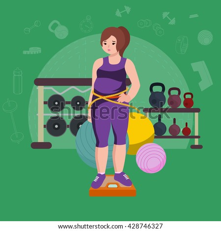 isolated weight loss white woman, fat woman slim fitness,  healthy weight loss concept vector illustration, young girl overweight, woman doing exercise and have sport fitness lifestyle - stock vector