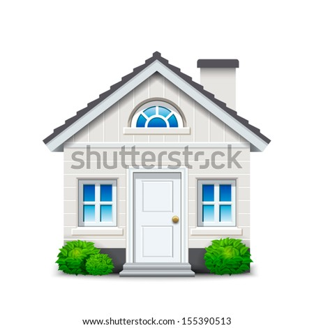 Isolated white house with fireplace and plants - stock vector