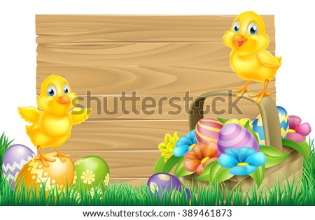 Isolated wooden cartoon Easter sign with Easter Chicks baby chicken birds, Easter Eggs, spring flowers and Easter basket in a field - stock vector