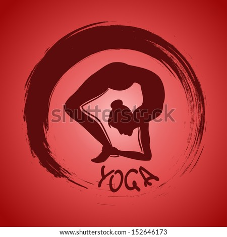 Isolated yoga label with Zen symbol and pose - stock vector