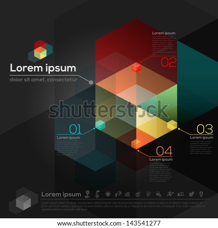 Isometric and Hexagon Shapes Abstract Design background Template Layout for Brochure / web / presentation / print - stock vector