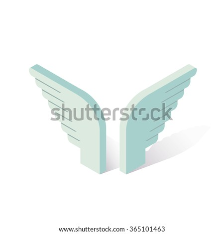 isometric blue angel wings icon, vector illustration, love concept - stock vector