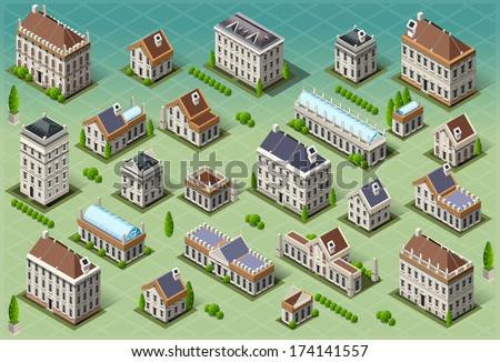 Isometric Building City Palace Private Real Estate. Public Buildings Collection Luxury Hotel Gardens. Isometric Building Tiles.3d Urban Buildings Map Illustration Elements Set Infographic Vector Game - stock vector
