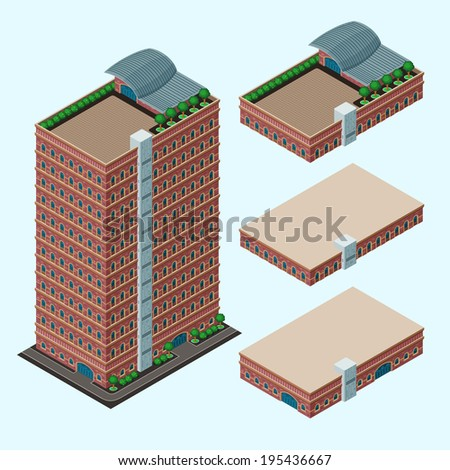 isometric building, each part is well grouped and easy to rearrange and customize - stock vector