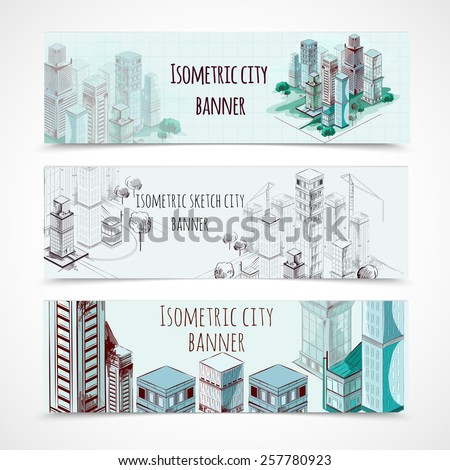 Isometric building horizontal hand drawn banners set isolated vector illustration - stock vector