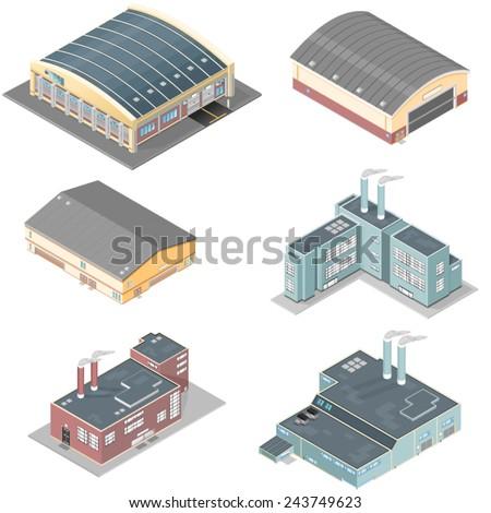 isometric building icon set. Isometric industrial buildings. Isometric buildings - stock vector