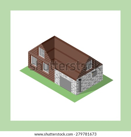 Isometric building vector icon isolated on white. Living house with details and garage on green floor. Isometric building of bricks and wood. Residential house for app, game, web, maps - stock vector