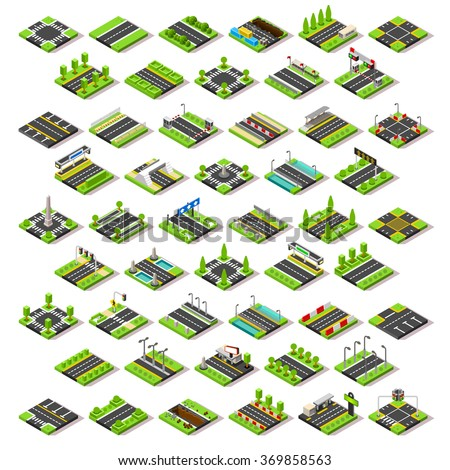 Isometric Buildings Blocks. Road Street Game Tiles. Isometric icons infographic concept set. Building City map Urban Furniture Elements Crossroad Traffic Light Flat 3d skyscraper bus shop Lego Vector - stock vector