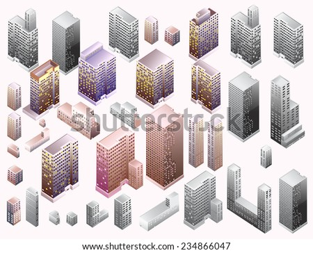 Isometric Buildings. Detailed illustration of skyscraper vector - stock vector