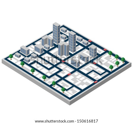 Isometric buildings on a city map on a white background - stock vector
