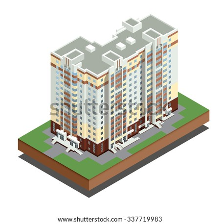 Isometric buildings real estate  - Residential house - decorative icons set - isolated vector illustration - architecture - stock vector