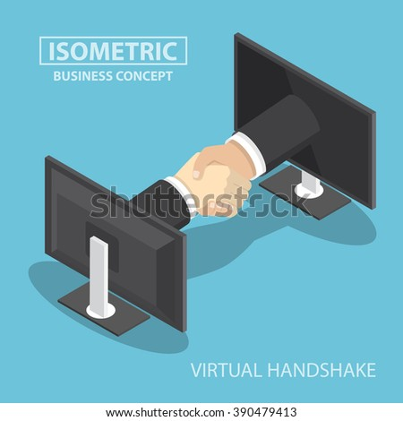 Isometric businessman hands reaching out from monitor screen to do handshake, internet working, wireless communication, online business concept - stock vector