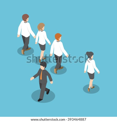 Isometric businessman walking to different way from other people, think different, stand out from the crowd, unique concept - stock vector