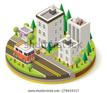 Isometric camper van travel leaving city - stock vector