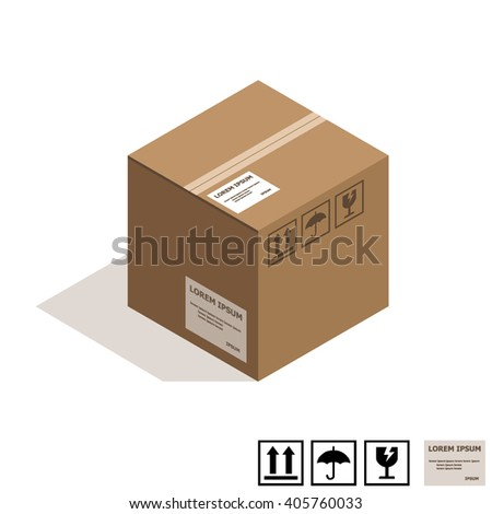 Isometric cardboard box isolated on white.  - stock vector