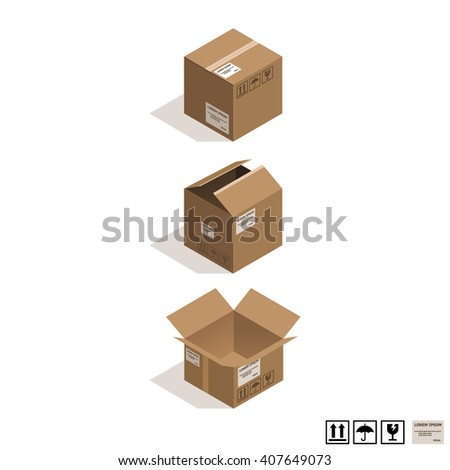 Isometric cardboard boxes isolated on white.  - stock vector