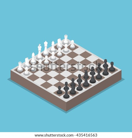 Isometric chess piece or chessmen with board, competition, business strategy concept - stock vector