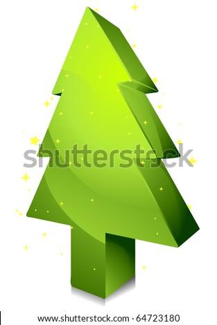 Isometric Christmas Tree Design against white Background - stock vector